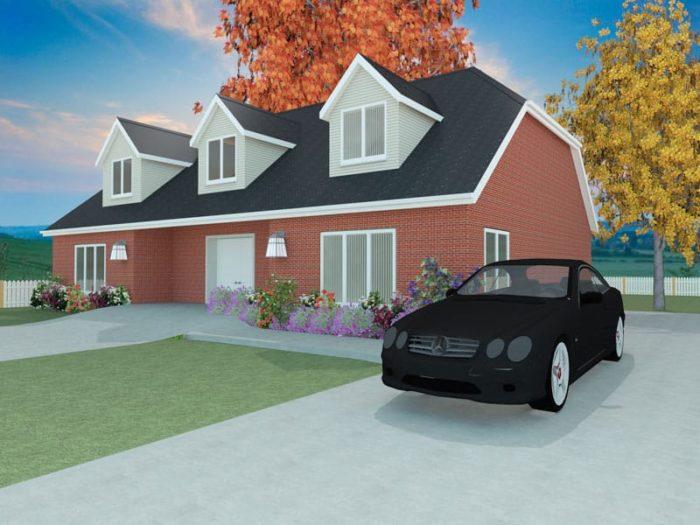 dormer bungalow home plan