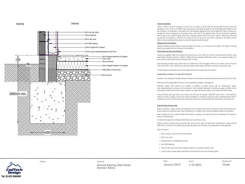 Ground Bearing Slab With Render Walls Detail Drawing