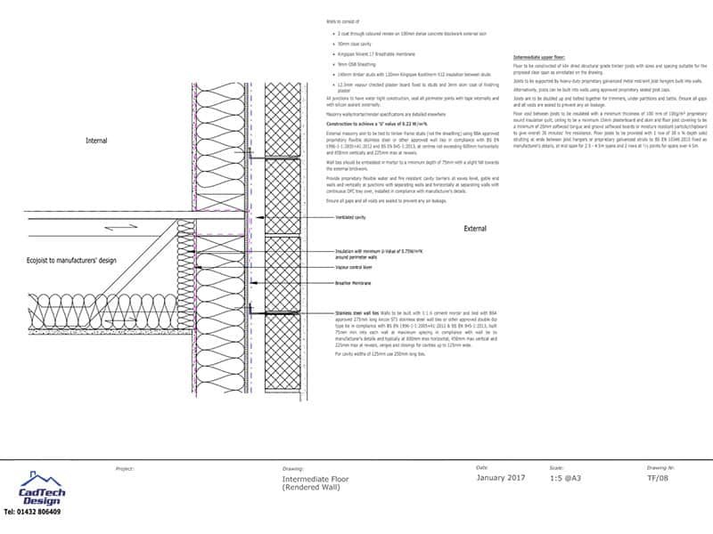 intermediate floor with render wall detail drawing