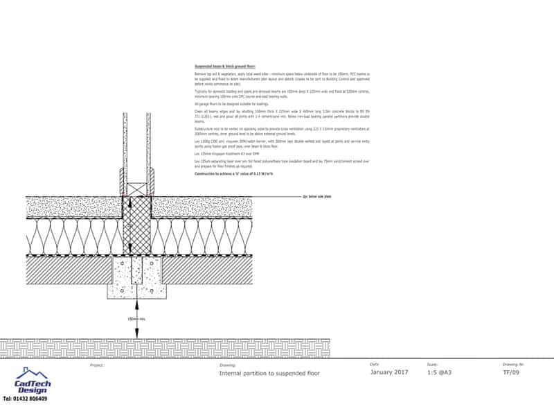 Internal Partition To Suspended Floor Detail Drawing