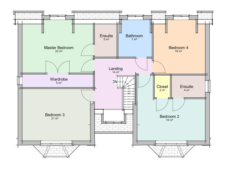 two storey detached house plan