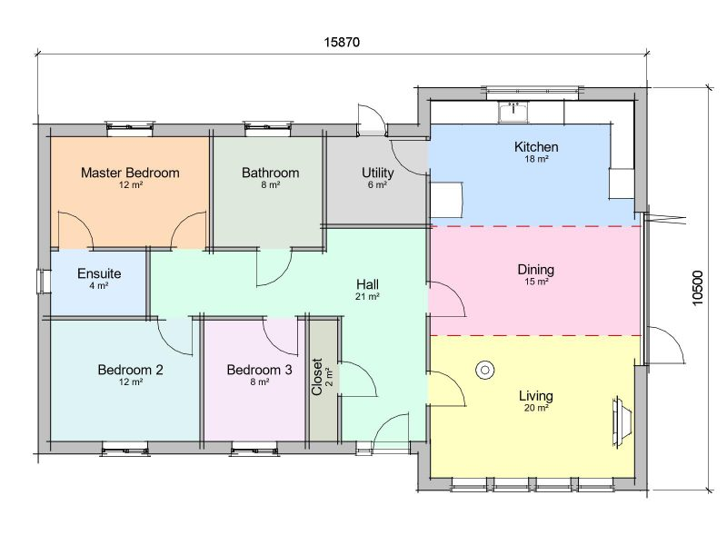 three bedroom contemporary bungalow design