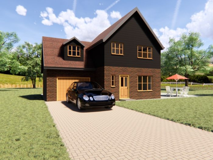 three bedroom detached house plan